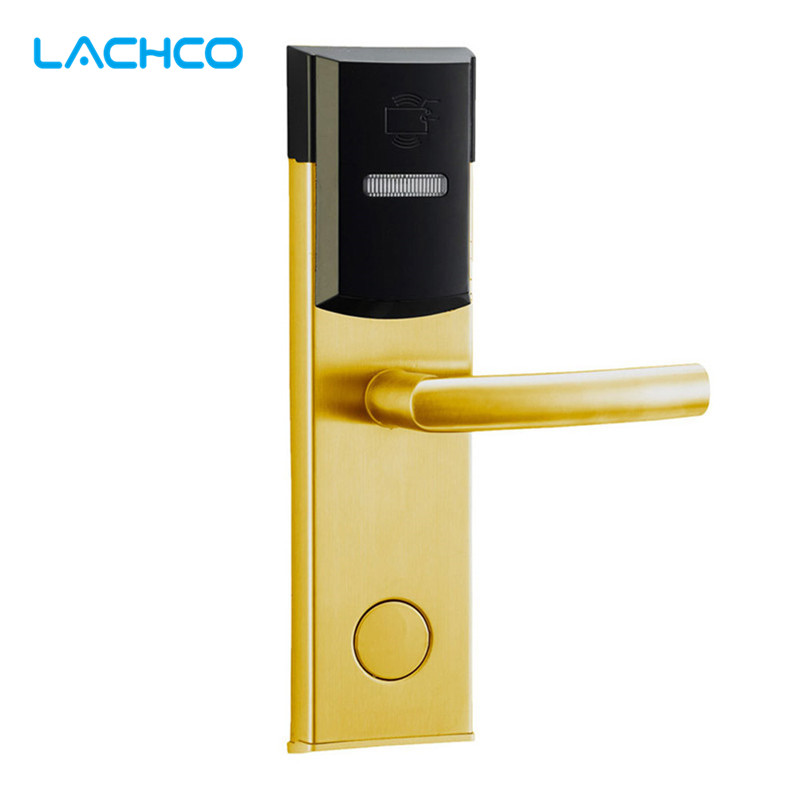 LACHCO Smart Card Door Lock Electronic Digital Lock Free-Style Handle For Home Office Hotel Room  L16039SG lachco card hotel lock digital smart electronic rfid card for office apartment hotel room home latch with deadbolt l16058bs