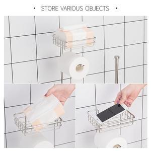 Image 3 - נירוסטה נייר טואלט רול Dispenser רחצה נייר מחזיק Stand בית אחסון מדף עבור טלפון סלולרי