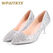 2019 Bling High-heeled Shoes Woman Silver Golden Two Colors Available Elegant Fashion Women  Sequined Cloth Wedding