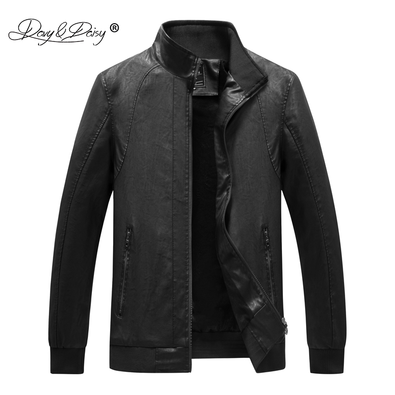 DAVYDAISY 2019 New Arrival Autumn Winter Man Jacket PU Leather High Quality Plus Size 4XL 5XL 6XL Black Jacket Coat JK090-in Jackets from Men's Clothing    1