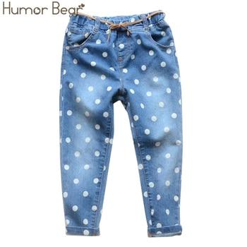 Humor Bear Hot Sale Cartoon Girls Children Jeans Dot Pants For Girls For 3-6 Years New Kids Jeans