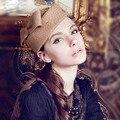2017 Auxiliares De Vuelo Arco Sombrero Con Velo de Novia Pelo de La Boda Accesorios de La Boda de La Flor Sombreros Boinas de REINO UNIDO Al Por Mayor Sombreros Del Fascinator