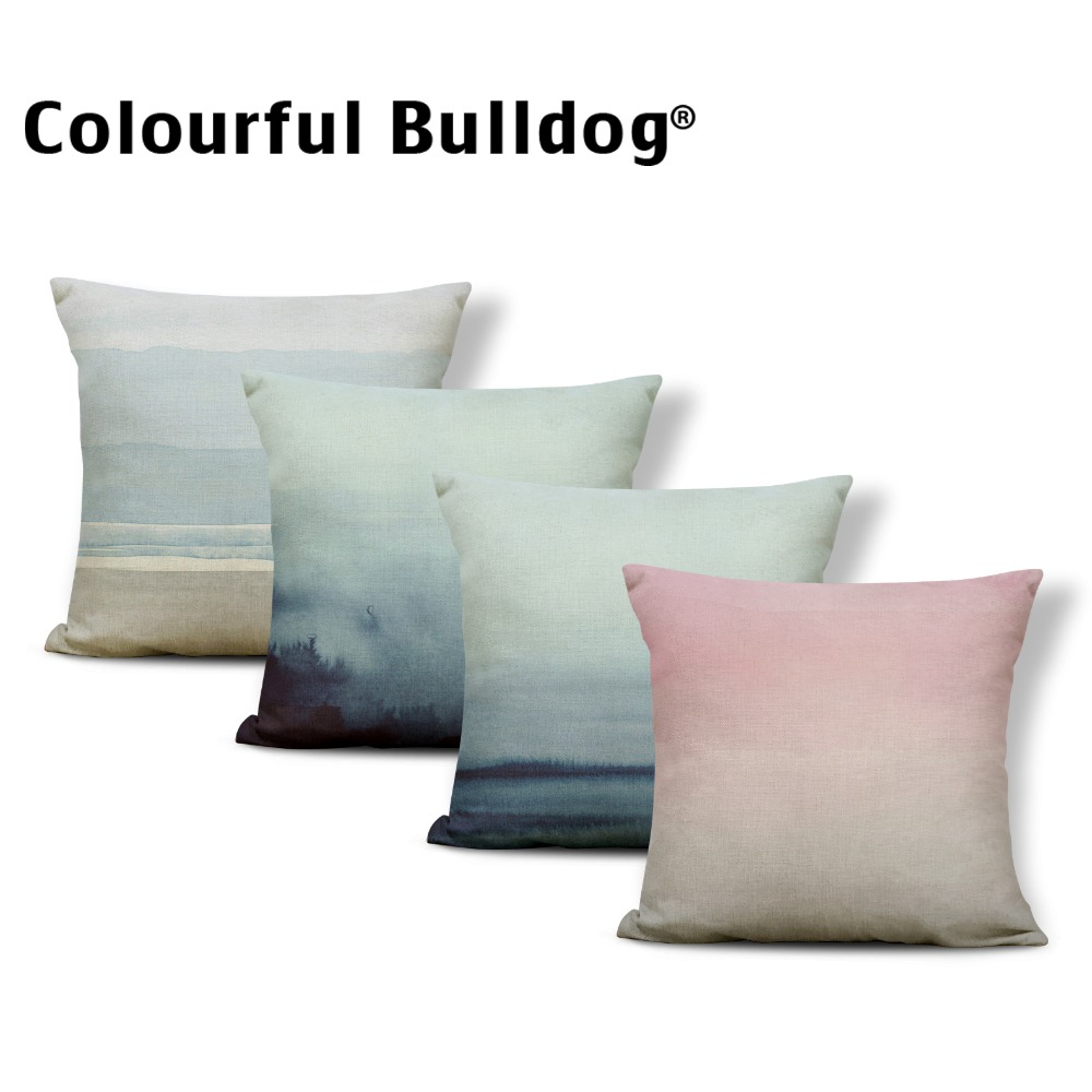 Landscape Cushion Cover Cloud Fog Pillow Cases Lounger Chair For Living Room Throw Pillow Cushion 45X45Cm Linen Promotional