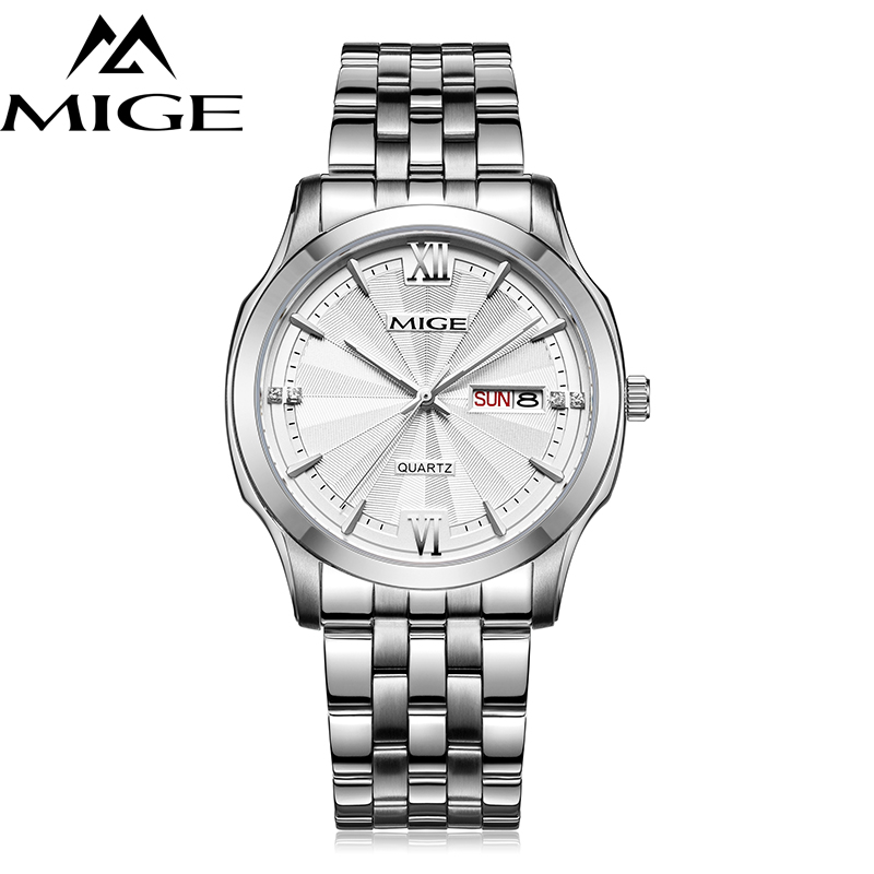 Mige 2017 New Hot Sale Lover Watch White Black Dial Steel Watchband WaterproofF Mans Clock Japan Quartz Week&Date Man Watches mige 2017 top fashion time limited sale sport watch white steel watchband saphire dial waterproof case quartz man wristwatches