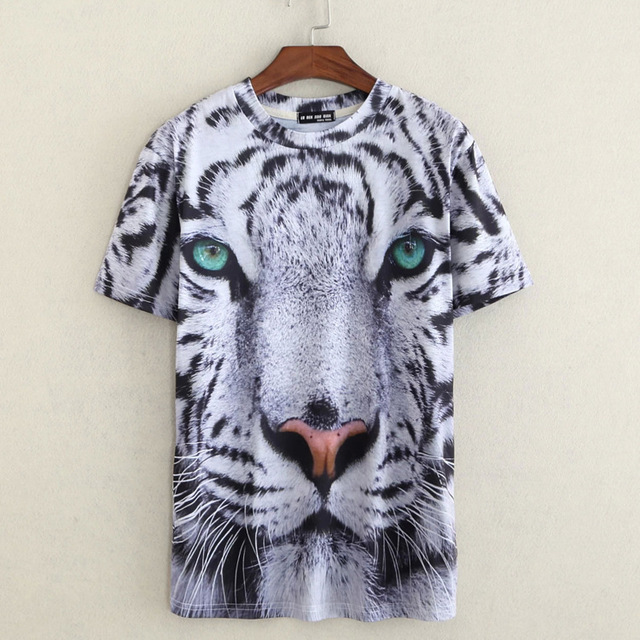 2015 estilo Creativo 3D Tigre Blanco de la historieta animal impreso verano camiseta hombres lothing manga corta 3d t shirt camiseta masculina