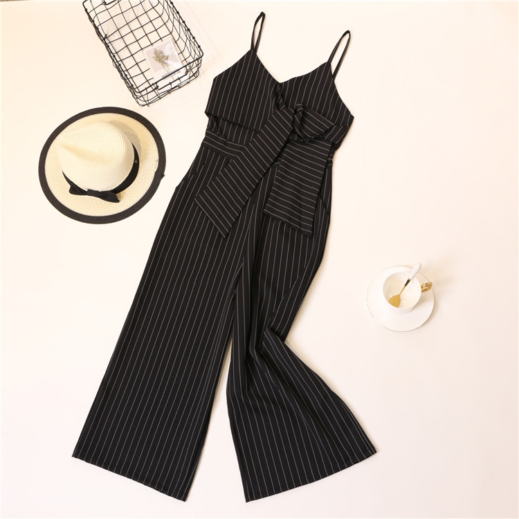 Summer Stripe Camisole Jumpsuit Women V-neck Striped Sexy High Waist Wide Leg Pants Office Ladies Red Black Overall Bodysuit 79