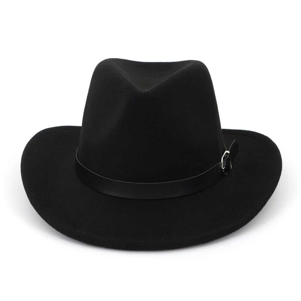Sombrero de vaquero occidental de fieltro sombreros de Jazz para hombres y mujeres gorra de visera de sol hebilla de cinturón de mujer gorra de viaje de ala grande sombreros occidentales Chapeu vaquero tapas