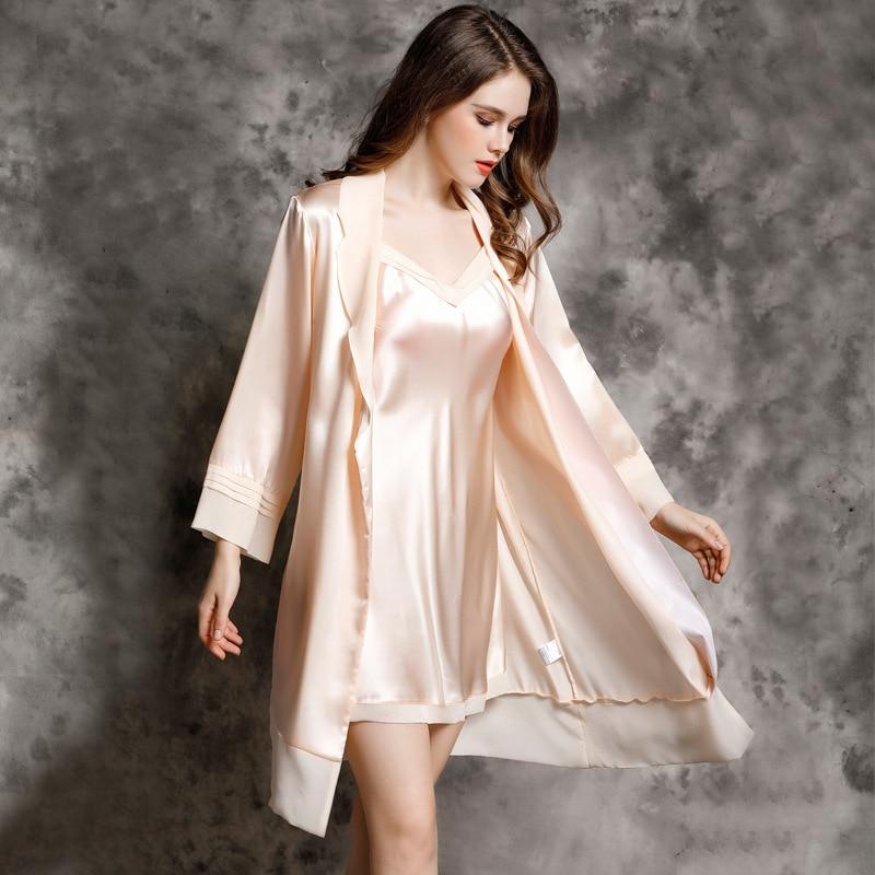 P9937 Female Summer silk nightwear Women Nightdress Two Suit Sexy 100% Silk Robe Home Furnishing Bath Robe