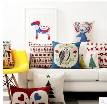 Baby Elephant Christmas Couple Decorative Pillow Cover Winter Car Cushion Cover New Year Cartoon Geometry Sofa Pillow Cover