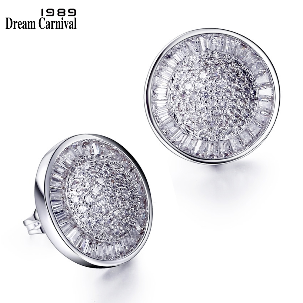 DreamCarnival 1989 Round Stud Earrings for Women Rhodium Gold Color Wedding Jewelry Luxury Zirconia Pretty Brincos Pendientes