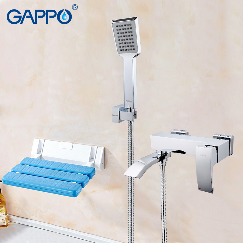 GAPPO Shower Faucets bath faucet mixer shower tap Wall Mounted Shower Seats folding chair Sanitary Ware Suite gappo classic chrome bathroom shower faucet bath faucet mixer tap with hand shower head set wall mounted g3260