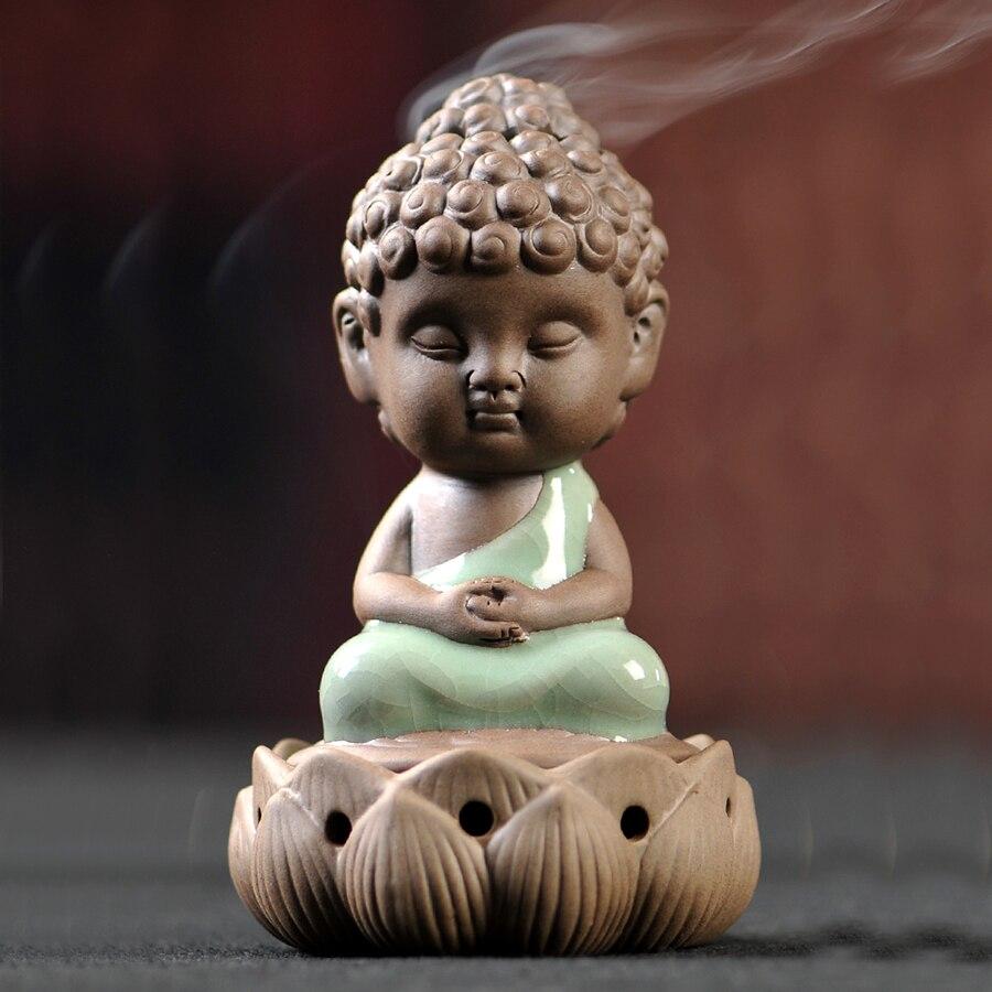 1 pièces petit bouddha brûleur d'encens en céramique Zen Ganesha encensoir bâton Porte-Encens diffuseur en céramique Bakhoor Porte Encens 60KOB06