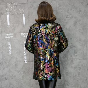 Image 3 - Multi color floral print black genuine leather trench coat real lambskin leather coat outwear plus size casacos LT1892 FREE SHIP