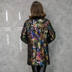 Image 3 - マルチカラー花柄黒本革トレンチコート本物のラムスキンレザーコート生き抜くプラスサイズ casacos LT1892 無料船