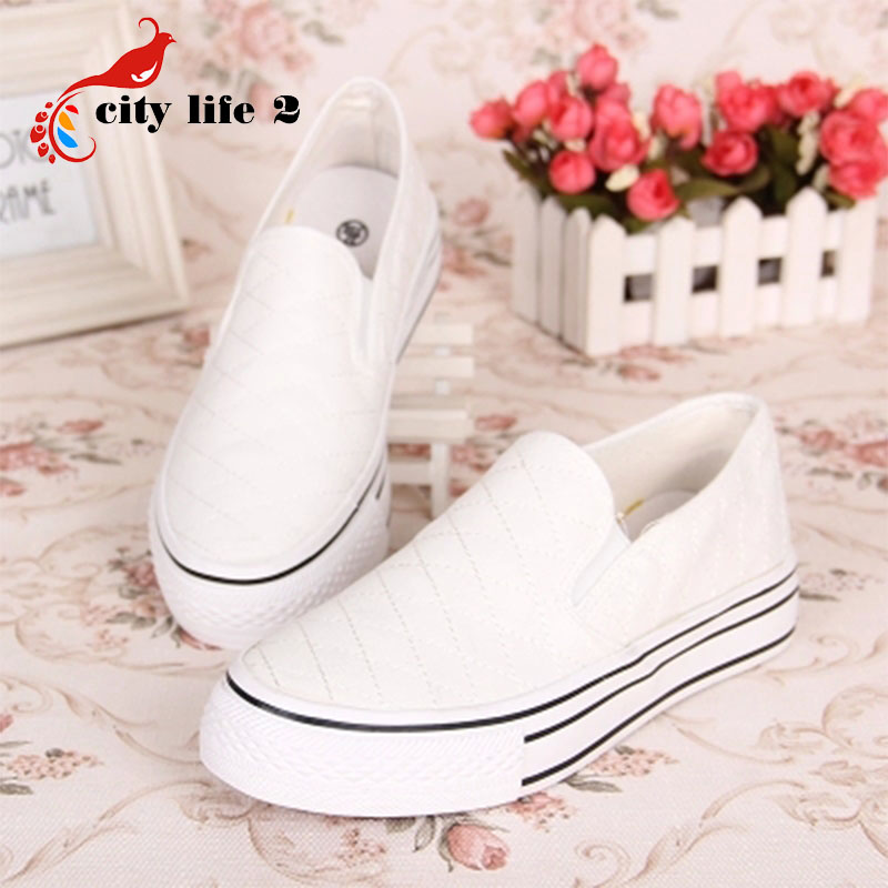 2016 Fresh Solid Color Canvas Shoes Hot Sale Lazy Paltform Thicken Bottom font b Women b