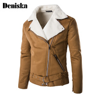 Cheap Winter Fake Lamb Shearling Mens Motorcycle Leather Suede Jacket Lined Short Faux Fur Coats For