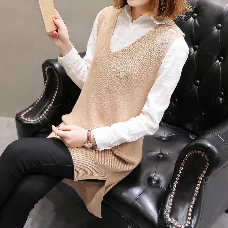 Свободный свитер с v-образным вырезом, жилет и жилет, пуловер средней длины, вязаный для женщин осенью и зимой 2018