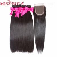 Bayan Rola Saç Ön-Renkli Insan Saç Düz Kapatma Ile 4 Demetleri Moğol Uzatma Olmayan Remy Saç Dalga doğal Siyah