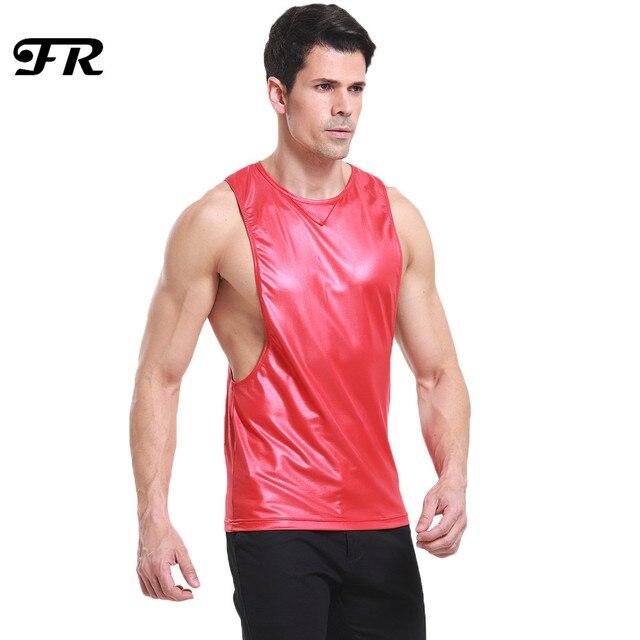 08181187 FR Men's Faux Leather Household Muscle Tight Tank Top,Men's Novelty Vest