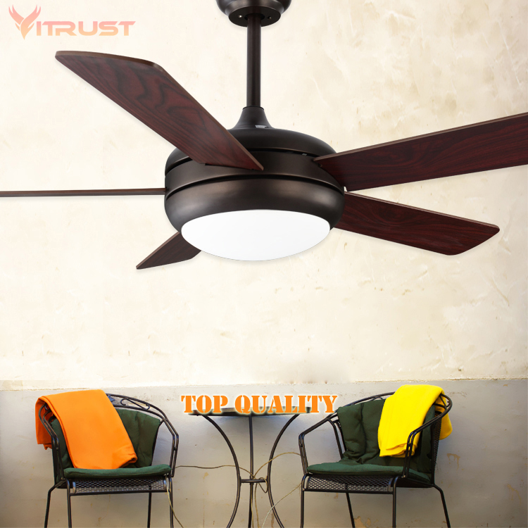 Modern indoor/Outdoor Ceiling Fan with Remote control and Solid Wood fan blade Oil Rubbed Bronze Damp Rated and LED Light Kit