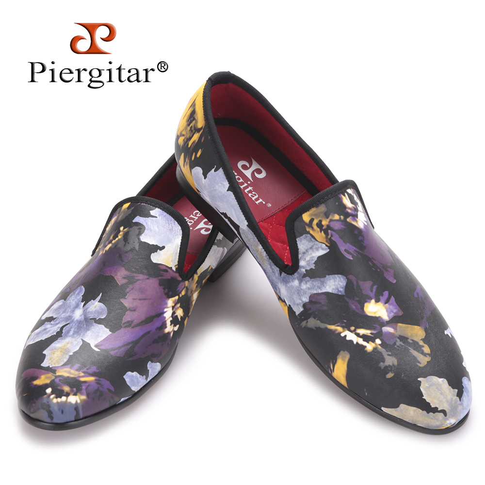Piergitar new arrival men floral printing flats shoes Handmade men casual shoes fashion style smoking slippers big size loafers qffaz new leather men casual shoes handmade fashion comfortable breathable men shoes casual shoes big size 45