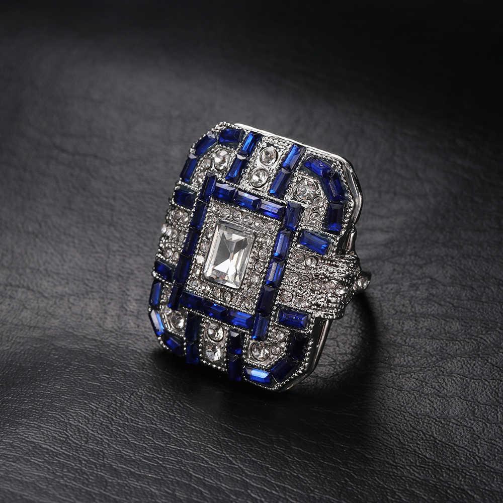 נשים גברים 925 כסף טבעות אופנתי גדול טבעת יוניסקס מסיבת עתיק כחול סגול ירוק אמנות דקור טבעת יום נישואים תכשיטי מתנה