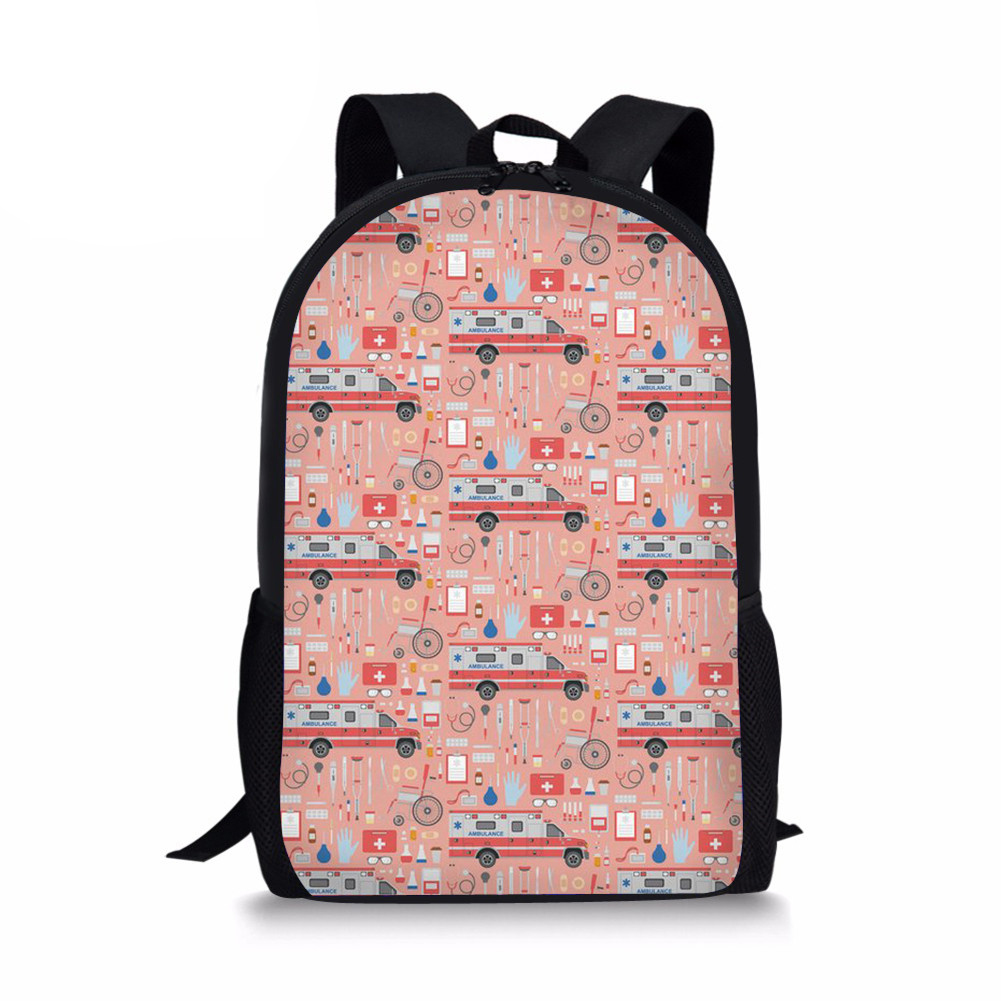 Pink Schoolbag for Girls Cute Cartoon Pattern Print School Bags For Teenagers Girl Mochila Feminina Students Satchel