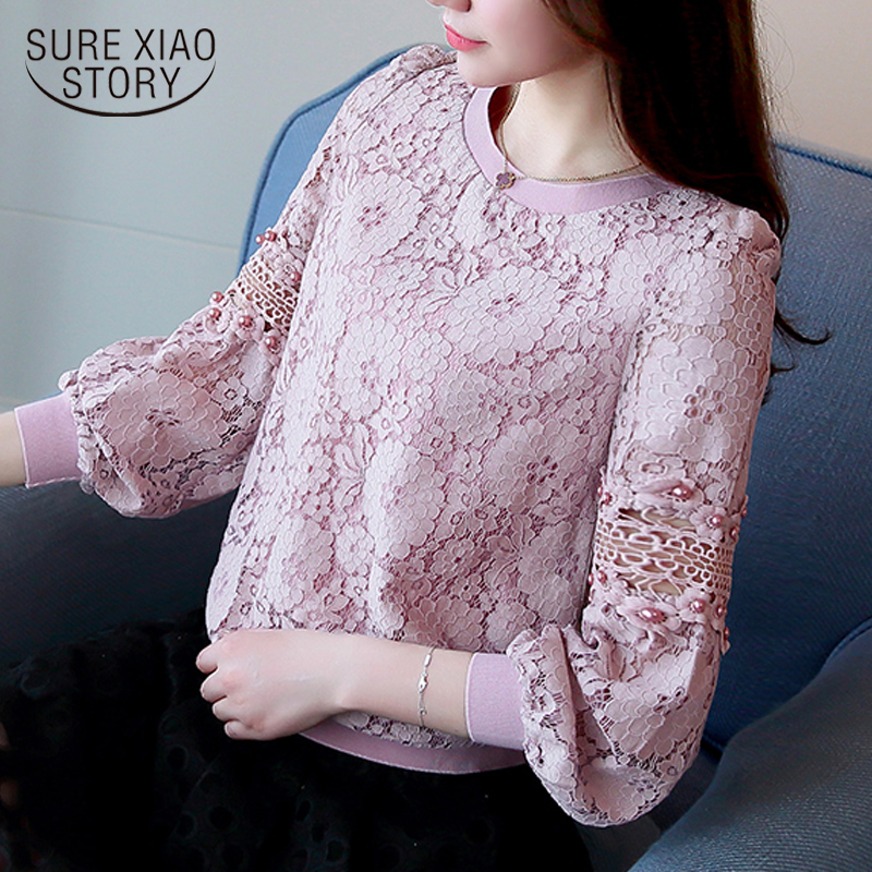2017 Autumn new fashion casual women lace bottoming   shirt   round neck loose long-sleeved lace women   blouse   top blosas 668C 30