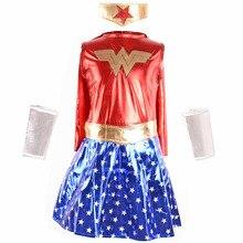 Deluxe Superhero Girls Costume Wonder Woman Supergirl Roleplay DC Superheros Fancy Dress Party Halloween Costumes for Kids