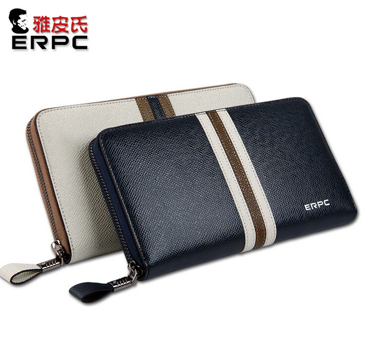 Men Genuine Leather Wallet Zip Around Strap in Middle White / Blue Portable Long Purse Clutch Bag Big Capacity Causal Style lorways 016 stylish check pattern long style pu leather men s wallet blue coffee