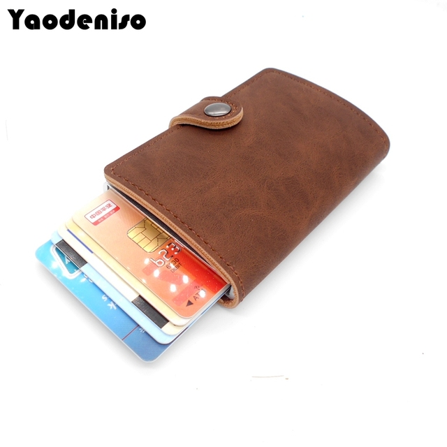 Yaodeniso metal men women card holder rfid aluminium credit card holder with rfid blocking leather mini wallet