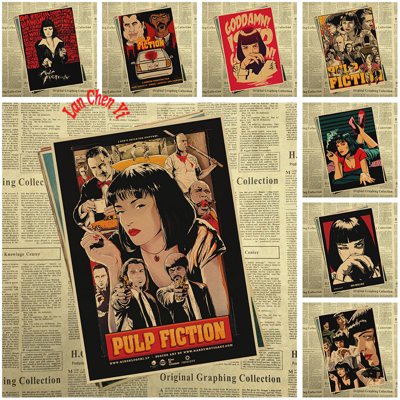 Pulp Fiction Quentin Tarantino Classic movie Kraft posters Retro Kraft Paper Bar Cafe Home Decor Painting Wall Sticker image