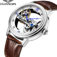 GUANQIN New Tourbillon AUTOMATIC Watch Men sport watch Luminous clock men Mechanical Skeleton waterproof gold relogio masculino