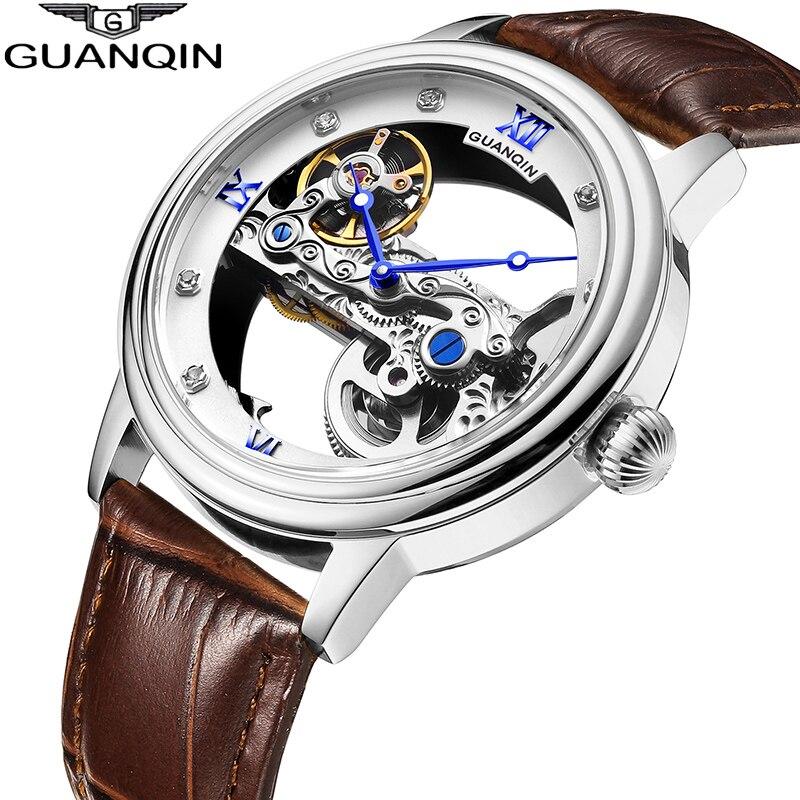GUANQIN Nuovo Tourbillon Orologio AUTOMATICO Degli Uomini di sport della vigilanza Luminosa orologio degli uomini Meccanici di Scheletro oro impermeabile relogio masculino