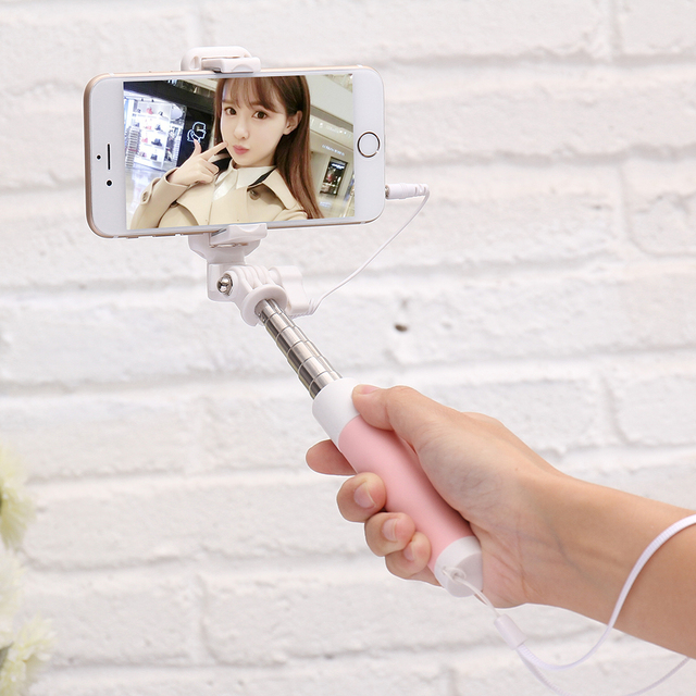 FLOVEME Wired Selfie Stick For iPhone 6 6 s Plus 5s SE For Samsung Huawei Android Cellphone Foldable Tripod Mirror Selfie Sticks