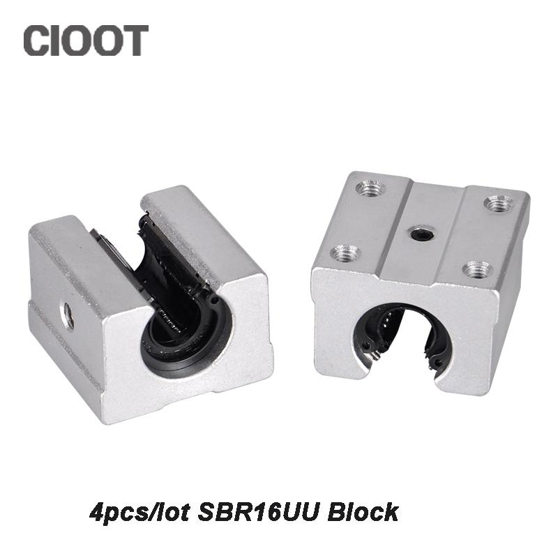 4pcs SBR20UU SBR20 Linear Bearing 20mm Open Linear Motion Ball Bearing Slide Block CNC Parts For Linear Rail Guide 4pcs new for ball uff bes m18mg noc80b s04g
