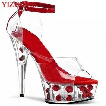 Hot Professional custom fashion noble lady banquet crystal rhinestone sandals clear 15cm high heel shoes Promotion
