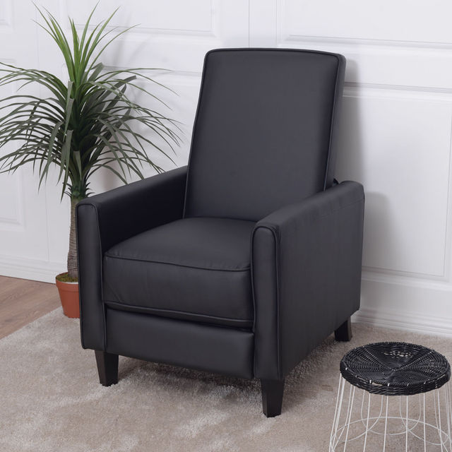 Giantex Single Recliner Sofa PU Leather Club Chair Living Room Furniture  Black Modern Single Sofa Chairs