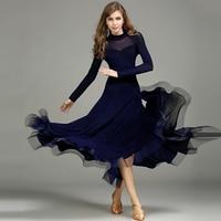 Ballroom Dress Women Deep Blue Long Sleeve Bright Silk Ballroom Dance Dresses Woman Waltz Standard Dancing Practice Wear DN2986