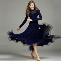 Ballroom Dress Women Deep Blue Long Sleeve Bright Silk Ballroom Dance Dresses Woman Waltz Standard Dancing Practice Wear DN2986
