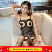 цена Women Sexy Costumes Halter Open Bust Bodysuit Open Crotch Teddy Hollow Out See Through Erotic Lingerie онлайн в 2017 году
