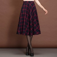 Winter Women Skirt Vintage Women S Clothing High Waist Red Pleated Plaid Skirt England Style Saias