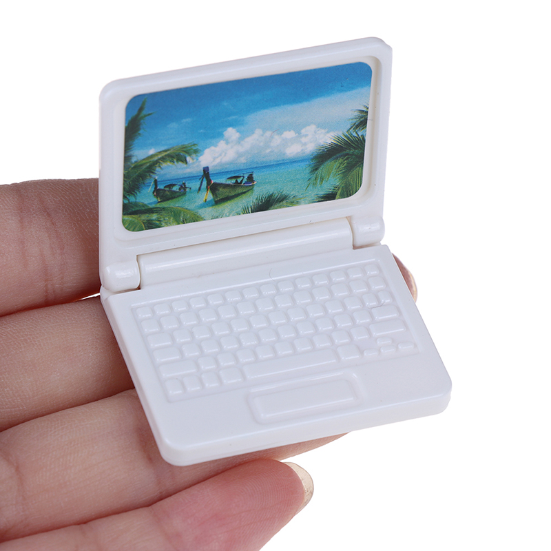 Random Color Creative Gift Dollhouse Miniature Modern Computer Furniture For Children Toy Furniture For Dolls Laptop Computer