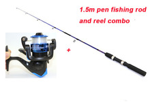 1.5m pen fishing rod and reel combo ultra light fishing rod set spinning fishing reel ratio 5.2:1 50m line cheap fishing tackle