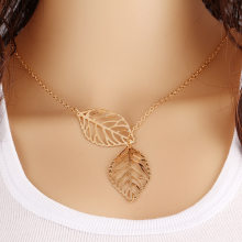 N131 Brand Designer Free Shipping Women Fashion Simple 2 Leaves Choker Necklace Collar Statement Necklace Women Jewelry Gift(China)