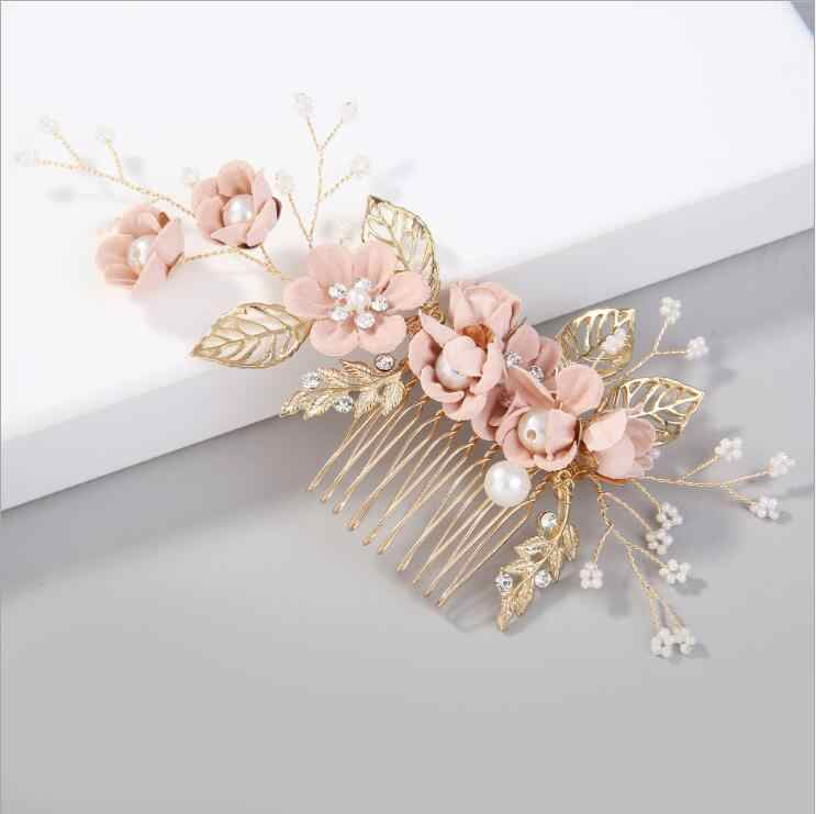 Luxury Blue Flower Hair Combs Headdress Prom Bridal Wedding Hair Accessories Gold Leaves Hair Jewelry Hair Pins