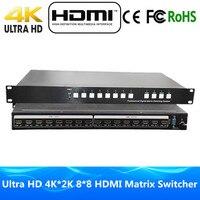 DHL Бесплатная доставка 4 К x 2 К 8 в 8 из HDMI Matrix 8x8 с rs232 и ИК пульт дистанционного управления Переключатель HDMI Ultra HD 4 К Full HD 1080 P 3D