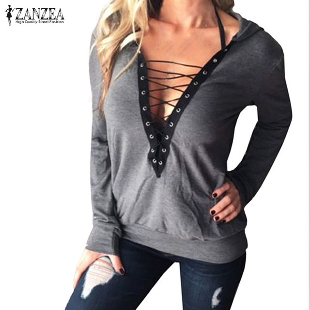 ZANZEA Women Sexy Hooded Blusas Tops 2017 Ladies Long Sleeve V Neck Lace Up Bandage Shirt Casual Solid Slim Blouses Pullovers