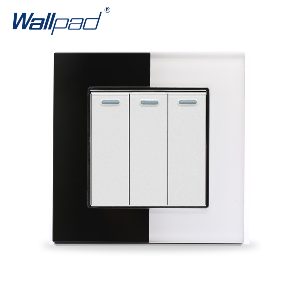 3 Gang Wall Switch Wallpad 110V-250V EU UK Luxury Piano Glass Frame Smart Switch 3 Gang 2 Way Push Button Wall Light Switch 10a universal socket and 3 gang 1 way switch wallpad 146 86mm white crystal glass 3 push button switch and socket free shipping
