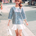 Autumn Dress 2016 Lolita Pattern Printed Blue White Striped Casual Loose Three Quarter Sleeve Ruffles Dress vestido curto D170